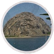Morro Rock California Painting Round Beach Towel