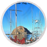 Morro Rock Morro Bay California Round Beach Towel