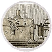 Morse Telegraph Machine, 1889 Round Beach Towel