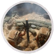 Mortar Crew In Action Round Beach Towel