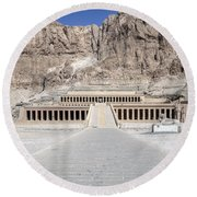 Mortuary Temple Of Hatshepsut - Egypt Round Beach Towel