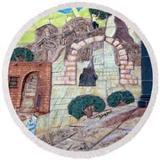 Mosaic Art At Petra Round Beach Towel