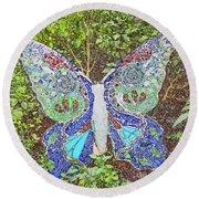 Mosaic Butterfly Round Beach Towel