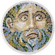 Mosaic Face Fountain Detail Round Beach Towel