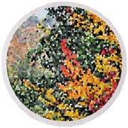 Mosaic Foliage Round Beach Towel