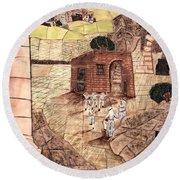 Mosaic Images At Petra Round Beach Towel