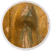 Mosaics In Church Of Theotokos Pammakaristos Round Beach Towel