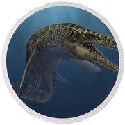Mosasaurus Hoffmanni Swimming Round Beach Towel