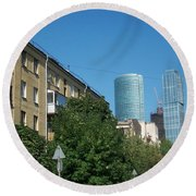 Moscow Business Centre Round Beach Towel