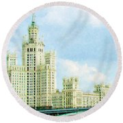 Moscow High-rise Building Round Beach Towel