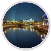 Moscow Kremlin At Night Round Beach Towel by Alexey Kljatov