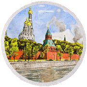 Moscow River Round Beach Towel