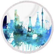 Moscow, Russia, Watercolor In Blue Round Beach Towel