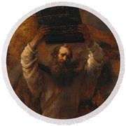 Moses With The Ten Commandments Round Beach Towel