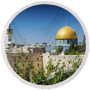 Mosques In Old Town Of Jerusalem Israel Round Beach Towel