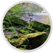 Moss Covered Boulders Round Beach Towel