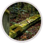 Moss Covered Fence Round Beach Towel