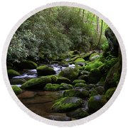 Moss Covered River Rocks Round Beach Towel