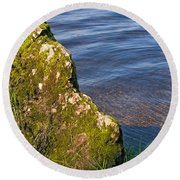 Moss Covered Rock And Ripples On The Water Round Beach Towel