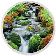 Moss Covered Stream Round Beach Towel