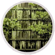 Mossy Bamboo Fence - Digital Art Round Beach Towel