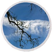 Mossy Branches Skyscape Round Beach Towel