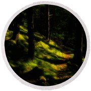 Mossy Forest Path Round Beach Towel