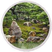 Mossy Japanese Garden Round Beach Towel