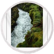 Mossy Rocks And Stream Poster Round Beach Towel