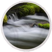Mossy Rocks  Oregon 1 Round Beach Towel