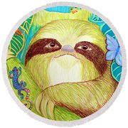 Mossy Sloth Round Beach Towel