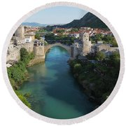 Mostar, Bosnia And Herzegovina.  Stari Most.  The Old Bridge. Round Beach Towel