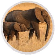 Mother And Baby Elephants Round Beach Towel