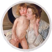 Mother And Boy Round Beach Towel