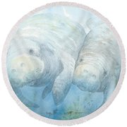 Mother And Calf Round Beach Towel