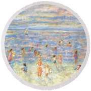 Mother And Child At The Beach Round Beach Towel