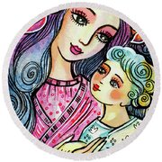 Mother And Child In Blue Round Beach Towel