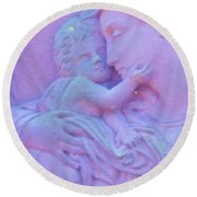 Mother And Child In Lavender Round Beach Towel