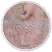 Mother And Child In Red Sandstone Round Beach Towel