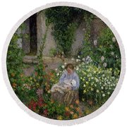 Mother And Child In The Flowers Round Beach Towel