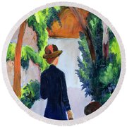 Mother And Child In The Park Round Beach Towel