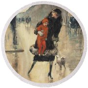 Mother And Child On A Street Crossing Round Beach Towel