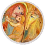 Mother And Child On Horse Round Beach Towel