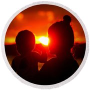 Mother And Child On Sunset Round Beach Towel
