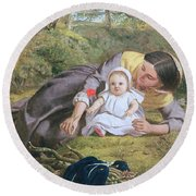 Mother And Child With A Poppy Round Beach Towel