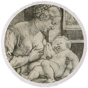 Mother And Child With Skull And Hourglass Round Beach Towel