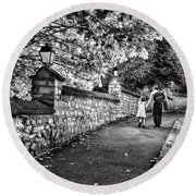 Mother And Daughter-france Round Beach Towel