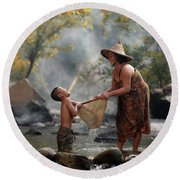 Mother And Son Are Happy With The Fish In The Natural Water Round Beach Towel