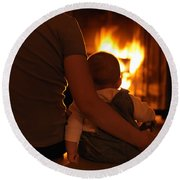 Mother And Son Sitting In Front Of A Firepalce Round Beach Towel