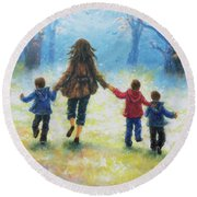 Mother And Three Sons  Round Beach Towel